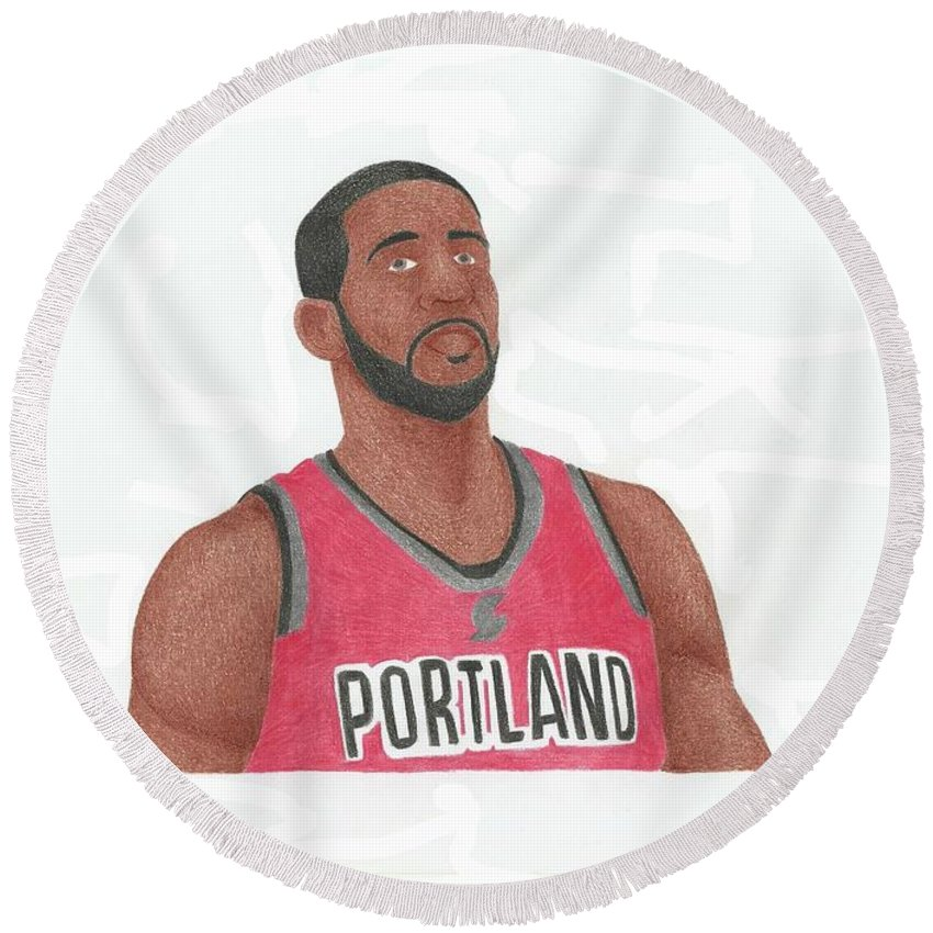 Basketball Round Beach Towel featuring the drawing Lemarcus Aldridge by Toni Jaso