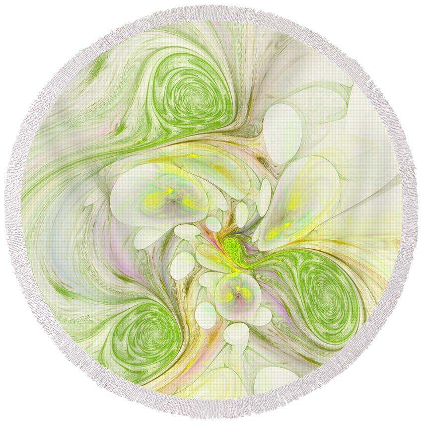 Digital Round Beach Towel featuring the digital art Lemon Lime Curly by Deborah Benoit
