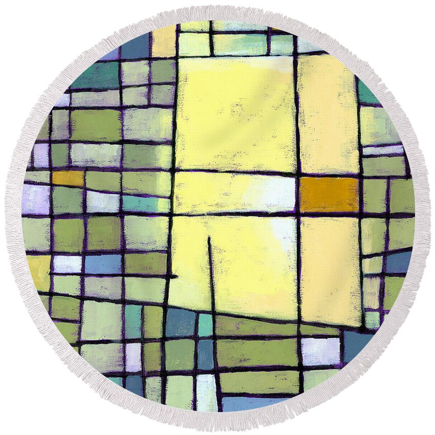 Abstract Round Beach Towel featuring the painting Lemon Squeeze by Douglas Simonson