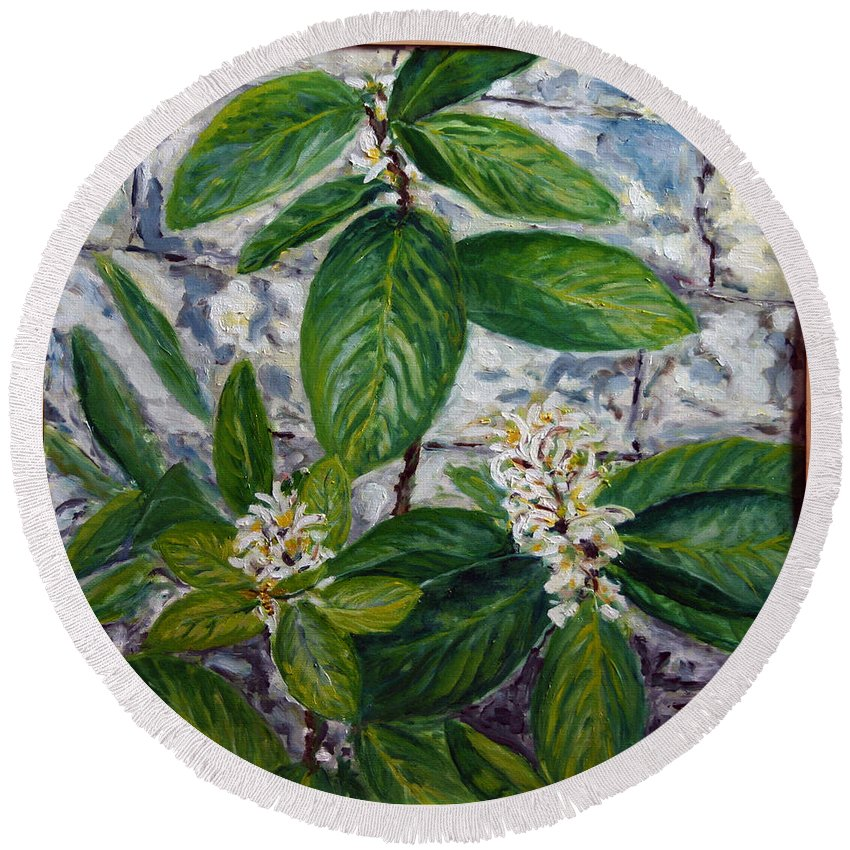 Landscape Round Beach Towel featuring the painting Lemon Tree by Pablo de Choros