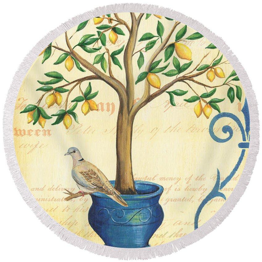 Lemon Round Beach Towel featuring the painting Lemon Tree Of Life by Debbie DeWitt