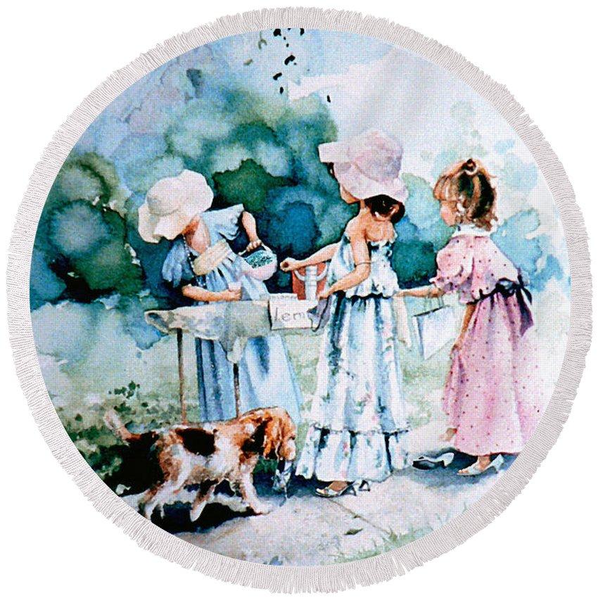 Lemonade Stand Round Beach Towel featuring the painting Lemonade Ladies by Hanne Lore Koehler