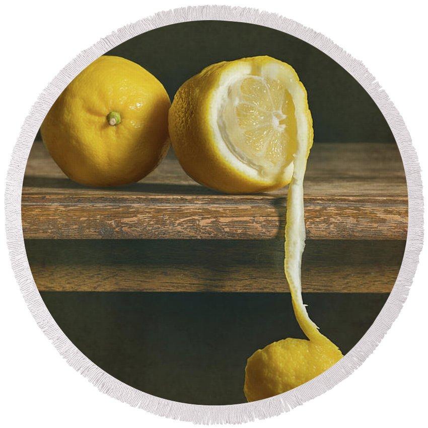 Lemon Round Beach Towel featuring the photograph Lemons by Amanda Elwell
