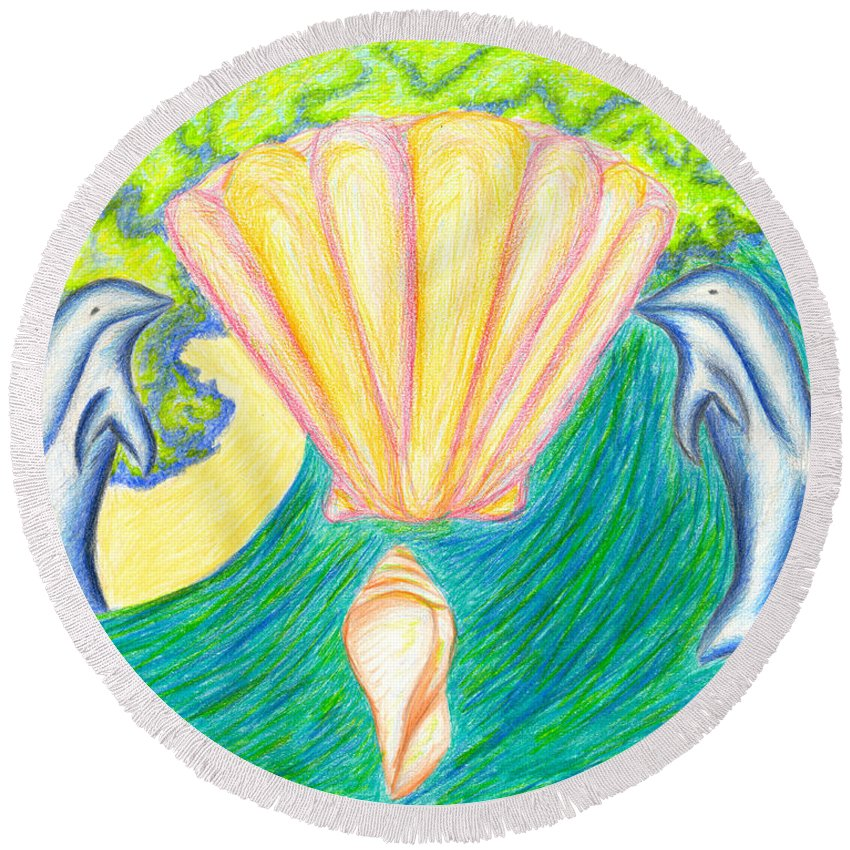 Abstract Round Beach Towel featuring the drawing Lemuria Atlantis by Kim Sy Ok