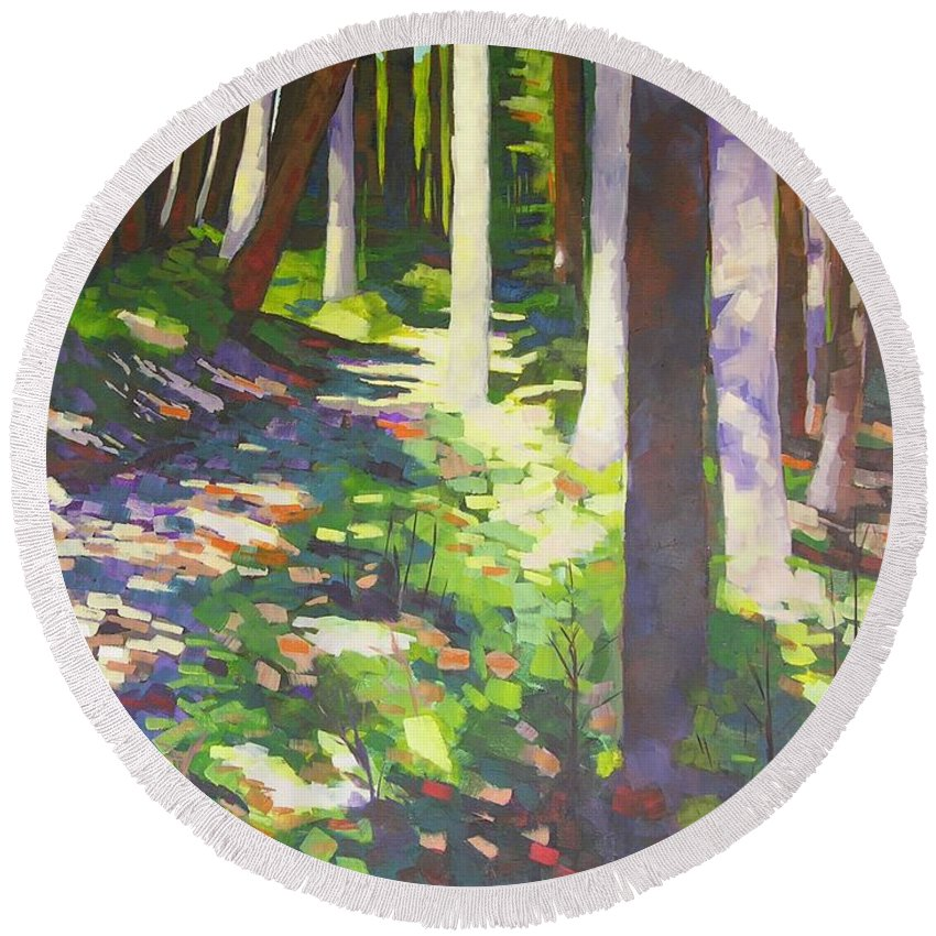 Landscape Round Beach Towel featuring the painting Lena Lake Trail I by Mary McInnis