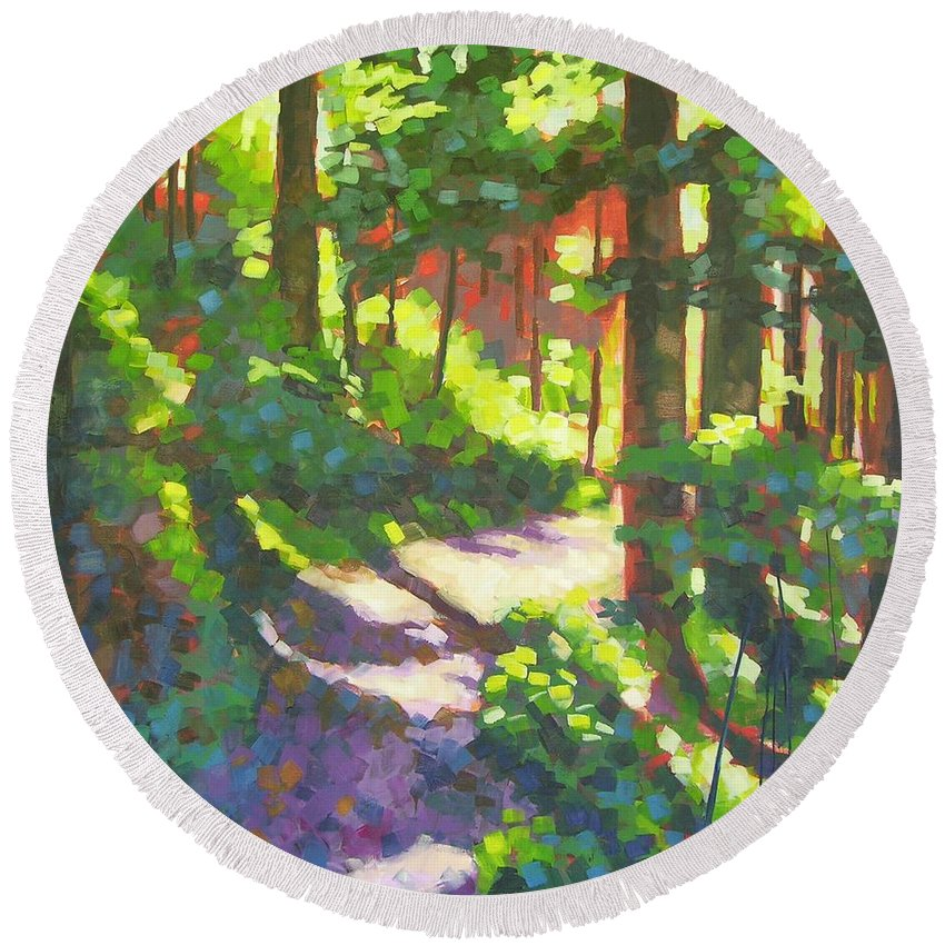 Landscape Round Beach Towel featuring the painting Lena Lake Trail II by Mary McInnis