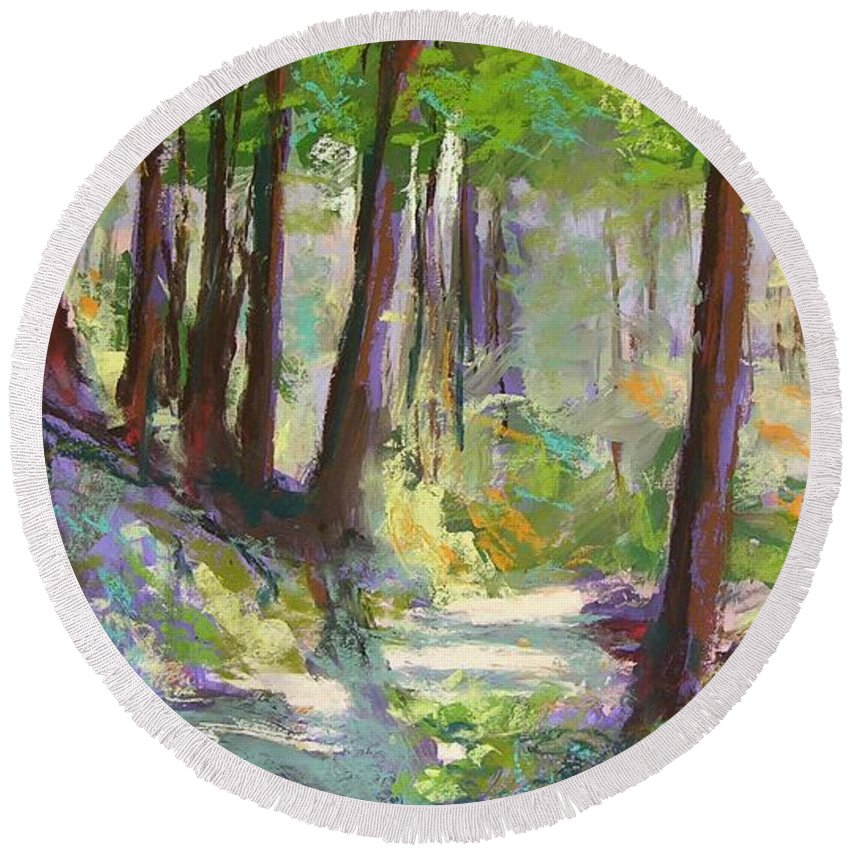 Landscape Round Beach Towel featuring the painting Lena Lake Trail Shadows by Mary McInnis