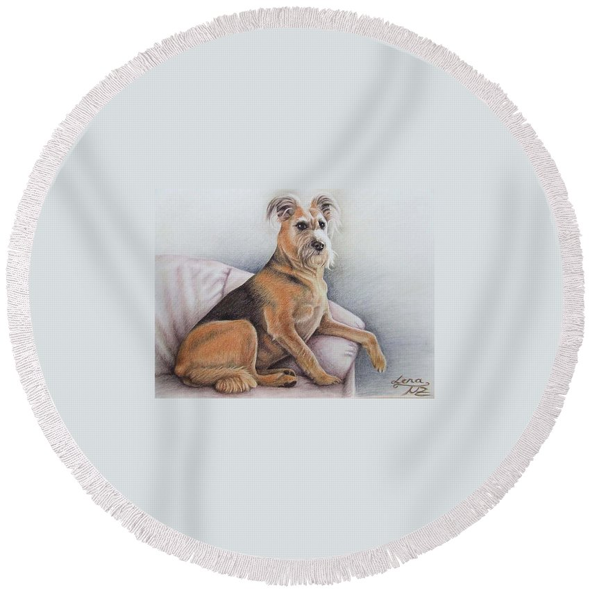 Dog Round Beach Towel featuring the pastel Lena by Nicole Zeug