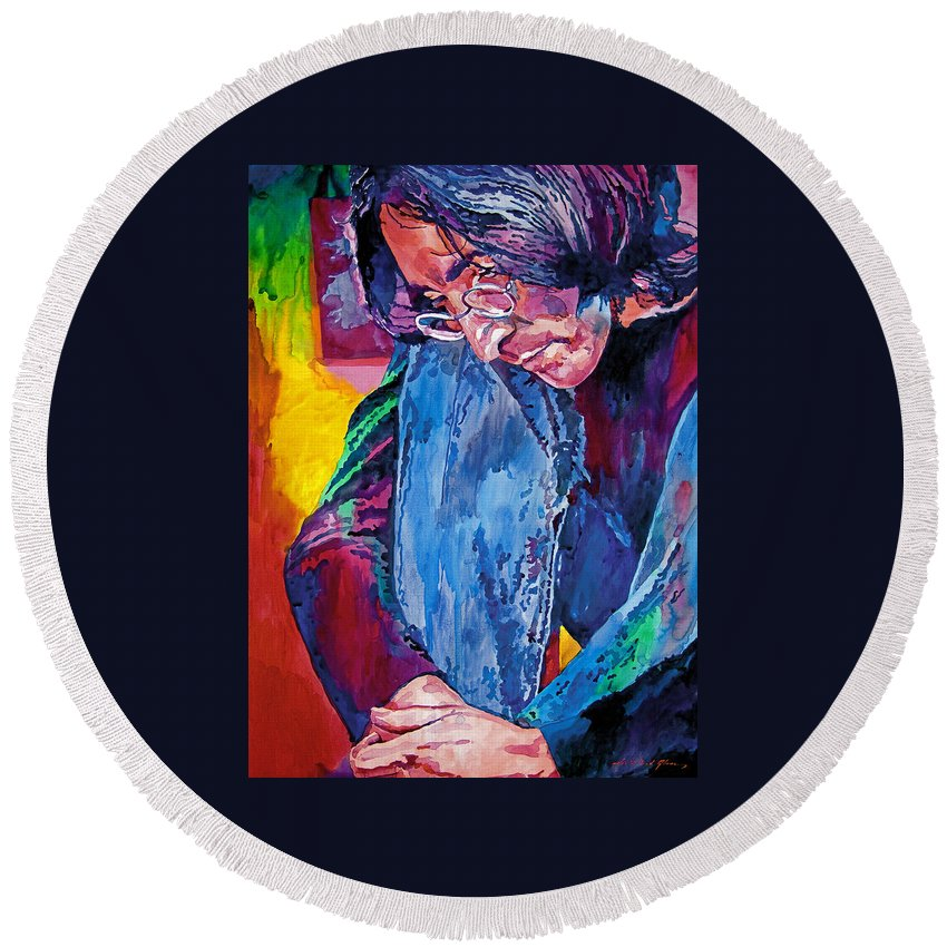 Rock Star Round Beach Towel featuring the painting Lennon In Repose by David Lloyd Glover