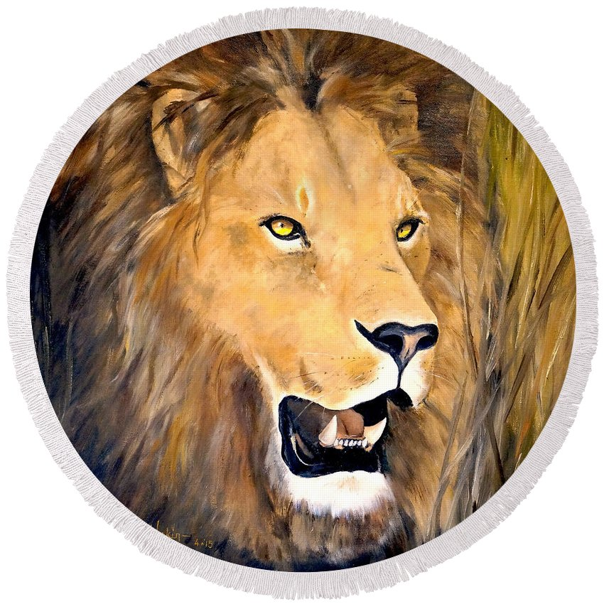 African Art Round Beach Towel featuring the painting Leo by Alan Lakin