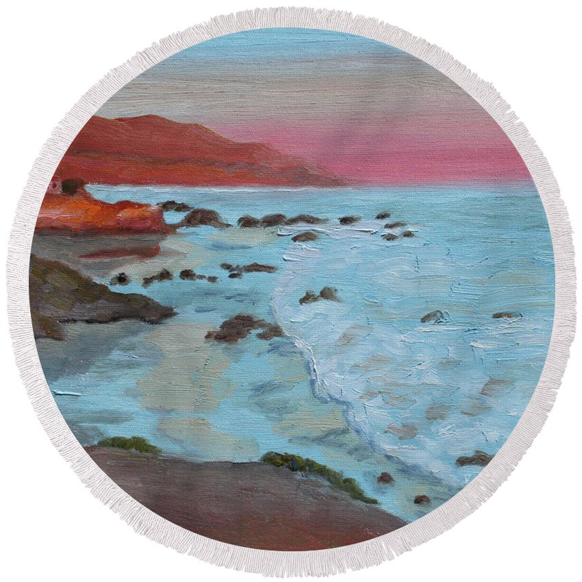 Leo Carillo Beach Round Beach Towel featuring the painting Leo Carillo Beach Afternoon II by Cathy Gibbons