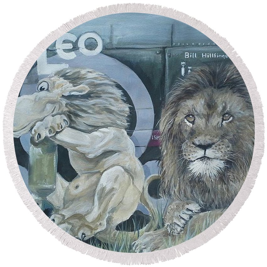 B24 Round Beach Towel featuring the painting Leo by Duncan Sawyer