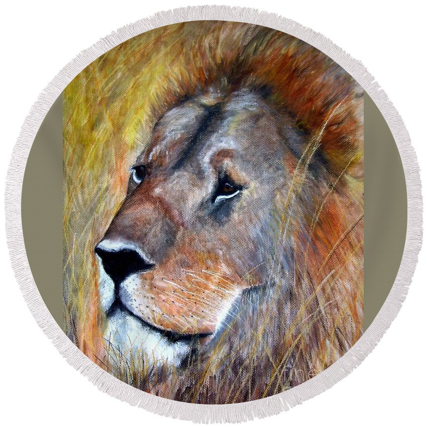 Lion Round Beach Towel featuring the painting leo by Frances Marino