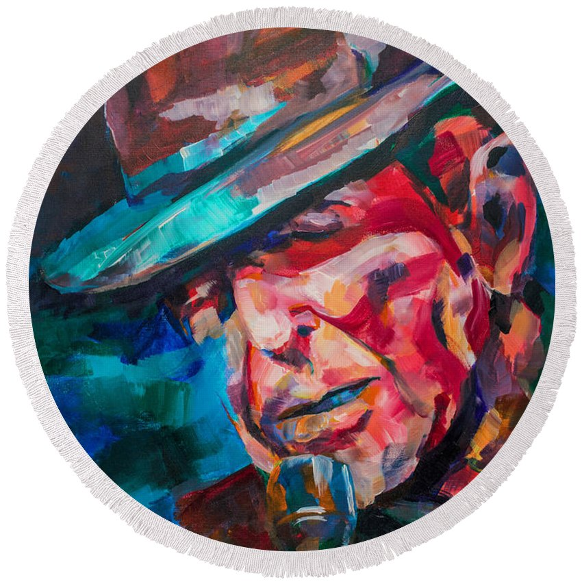 Leonard Round Beach Towel featuring the painting Leonard Cohen by Dima Mogilevsky