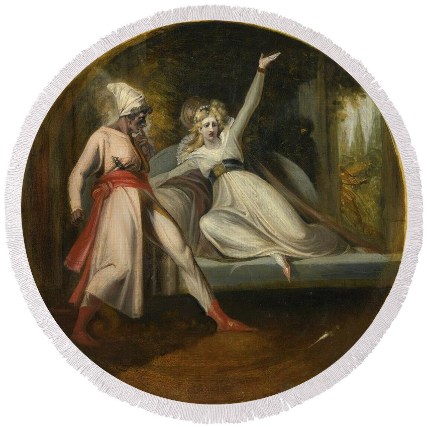 Johann Heinrich Fuseli R.a. Leonore Discovering The Dagger Left By Alonzo Round Beach Towel featuring the painting Leonore Discovering The Dagger Left By Alonzo by MotionAge Designs