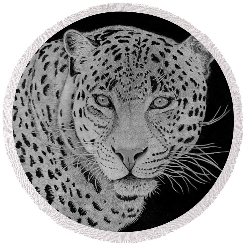 Leopard Round Beach Towel featuring the drawing Leopard by George Sonner