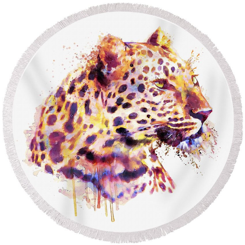Leopard Round Beach Towel featuring the painting Leopard Head by Marian Voicu