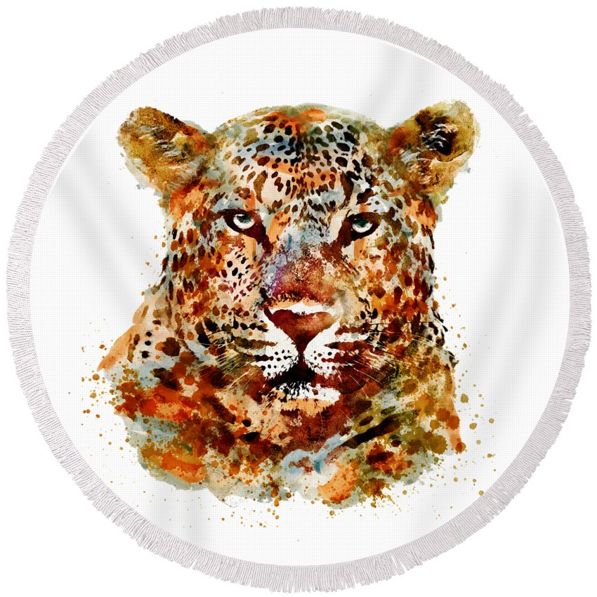 Leopard Round Beach Towel featuring the painting Leopard Head Watercolor by Marian Voicu