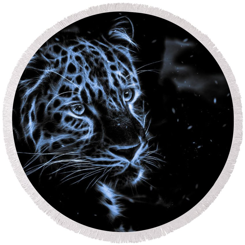 Animals Round Beach Towel featuring the photograph Leopard In The Darkness. by Rikk Flohr