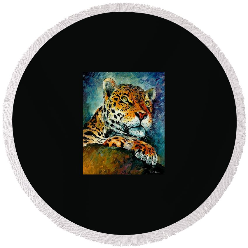 Animals Round Beach Towel featuring the painting Leopard by Leonid Afremov