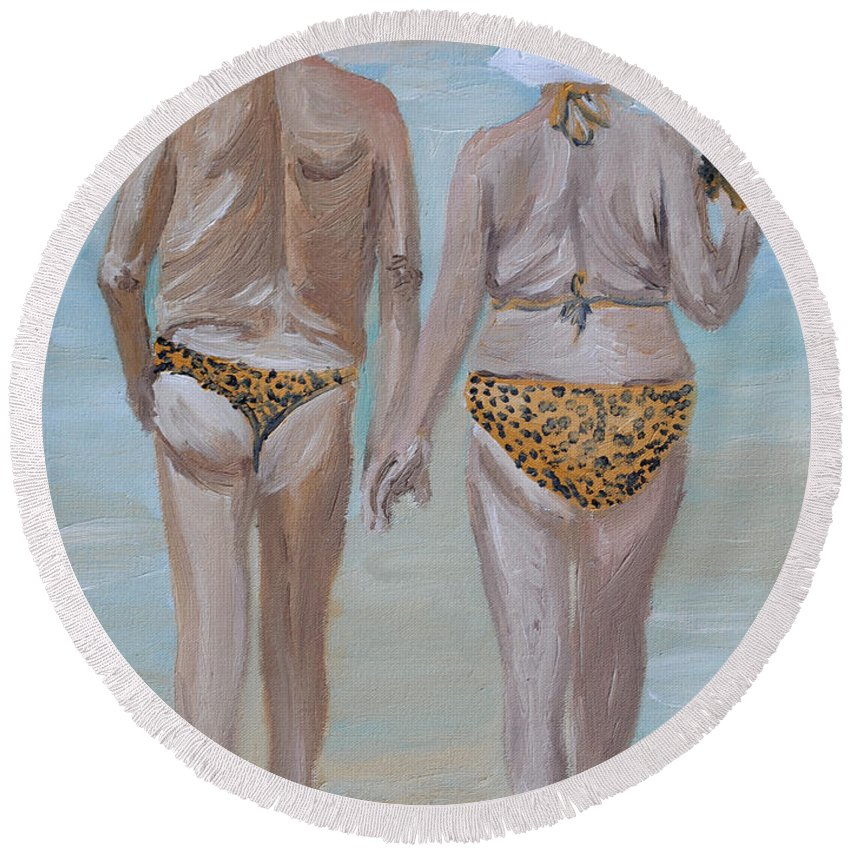 Old People Round Beach Towel featuring the painting Leopard Skin by Michael Lee