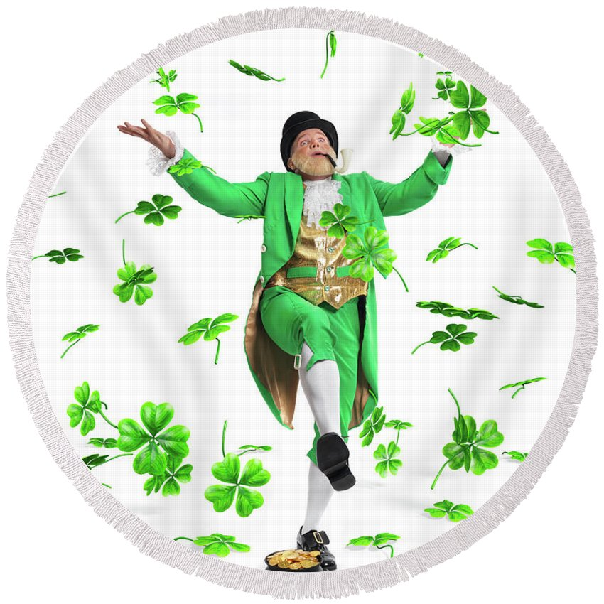 Leprechaun Round Beach Towel featuring the photograph Leprechaun Tossing Shamrock Leaves Up In The Air by Maxim Images Prints