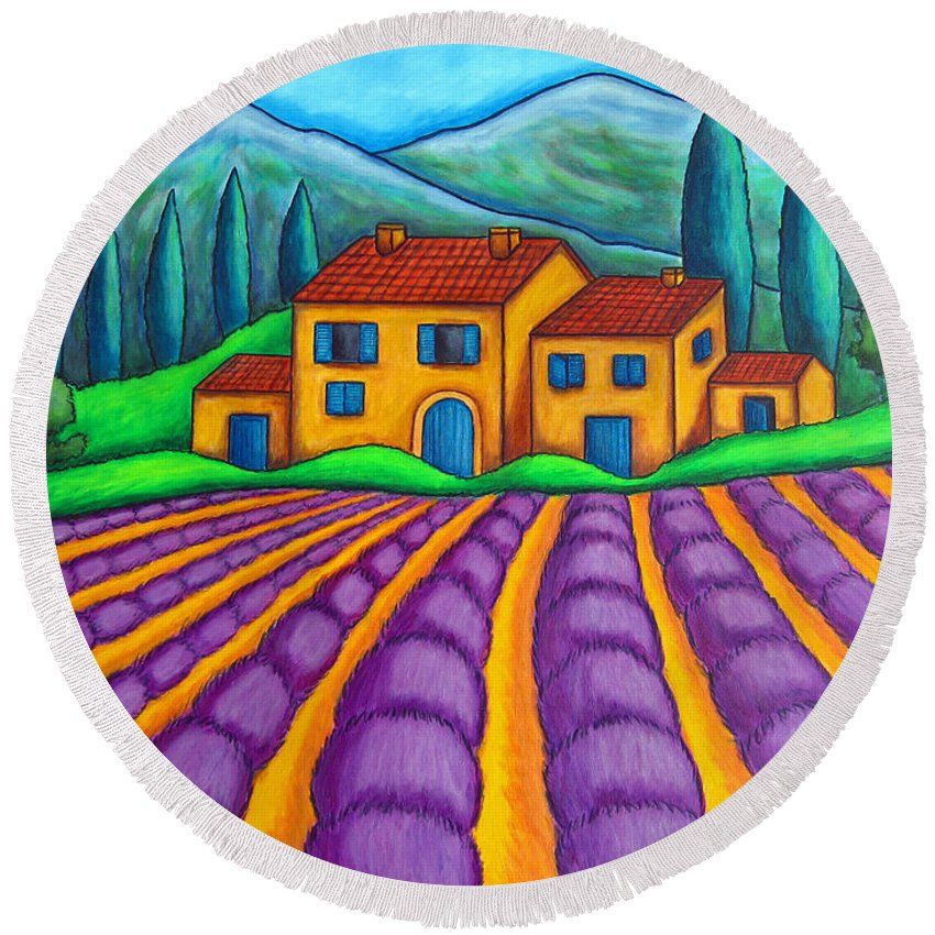 Provence Round Beach Towel featuring the painting Les Couleurs De Provence by Lisa Lorenz