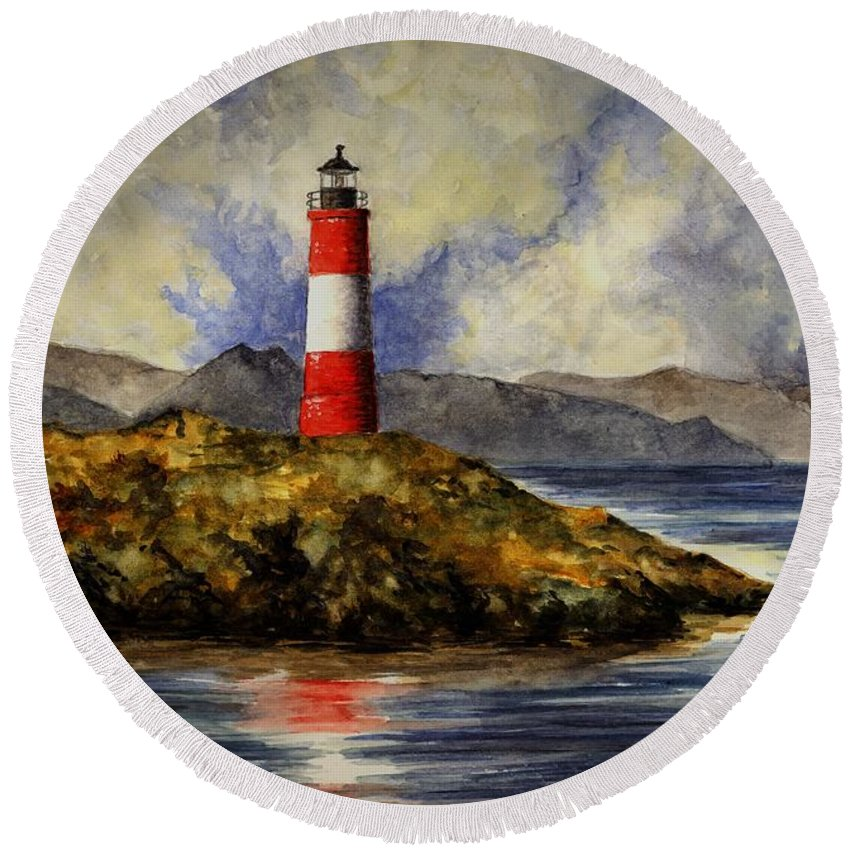 Lighthouse Round Beach Towel featuring the painting Les Eclaireurs Lighthouse by Michael Vigliotti