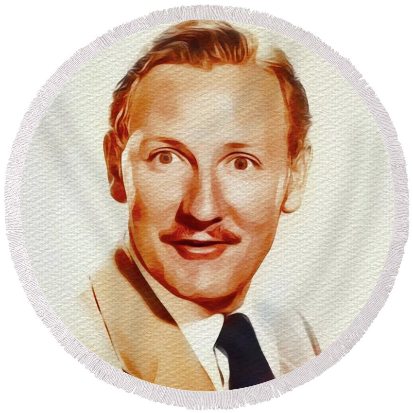 Leslie Round Beach Towel featuring the painting Leslie Phillips, Carry On Films Cast by John Springfield