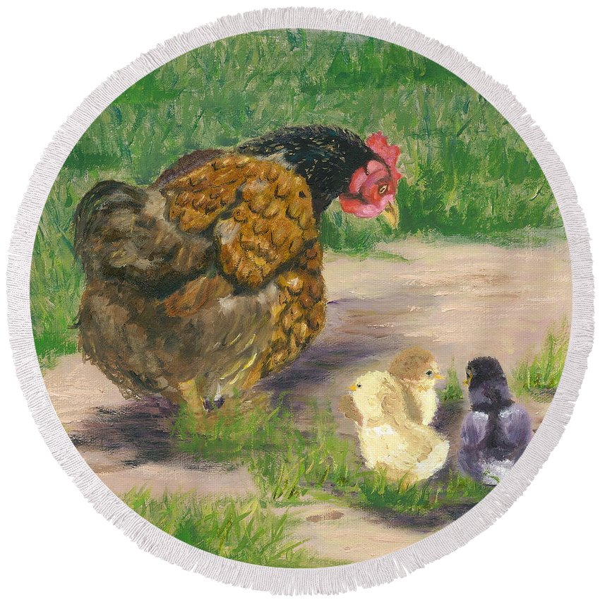 Cickens Chicks Hen Barnyard Bantams Farm Bucolic Nature Round Beach Towel featuring the painting Lesson Time by Paula Emery
