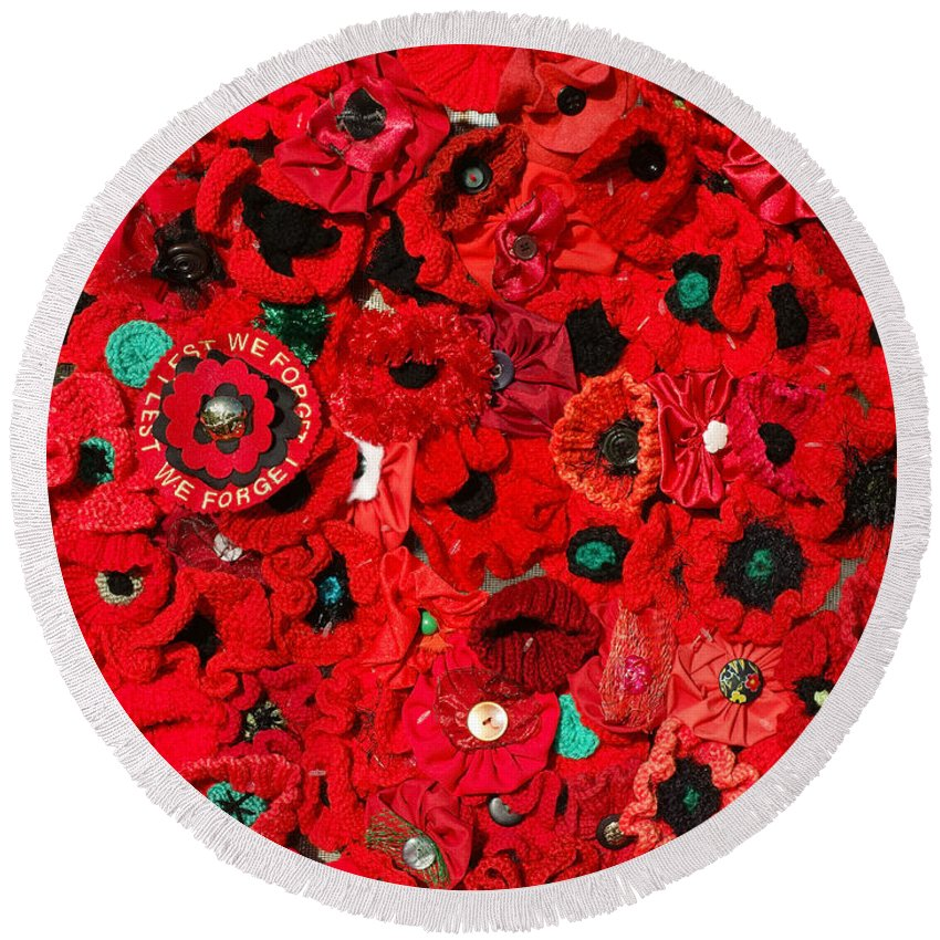 Lest We Forget Round Beach Towel featuring the photograph Lest We Forget by Wayne Sherriff