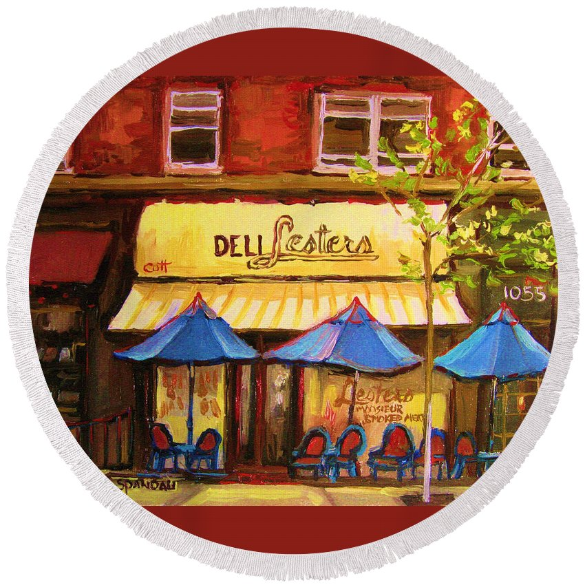 Lesters Deli Round Beach Towel featuring the painting Lesters Cafe by Carole Spandau