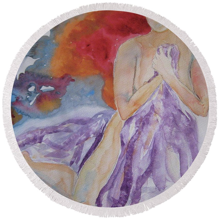 Nude Round Beach Towel featuring the painting Let It Burn by Beverley Harper Tinsley