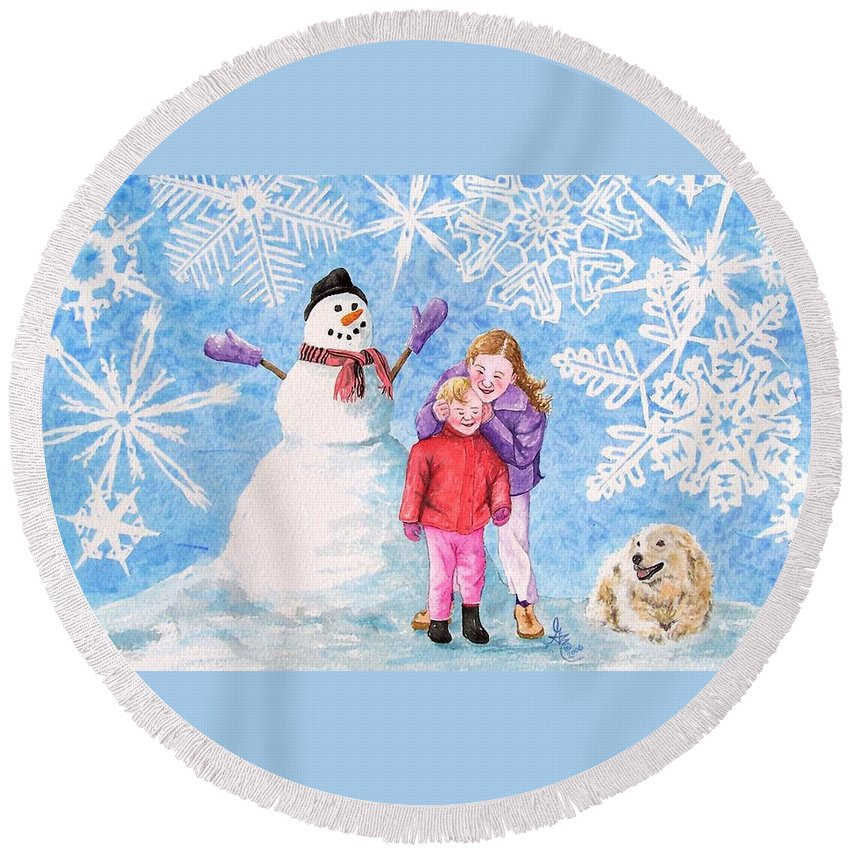 Snowman Round Beach Towel featuring the painting Let It Snow by Gale Cochran-Smith