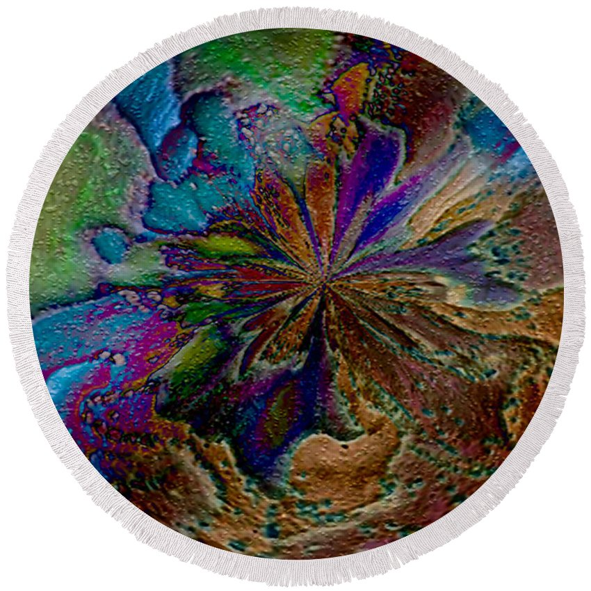 Paula Ayers Round Beach Towel featuring the digital art Let The Earth Bring Forth by Paula Ayers