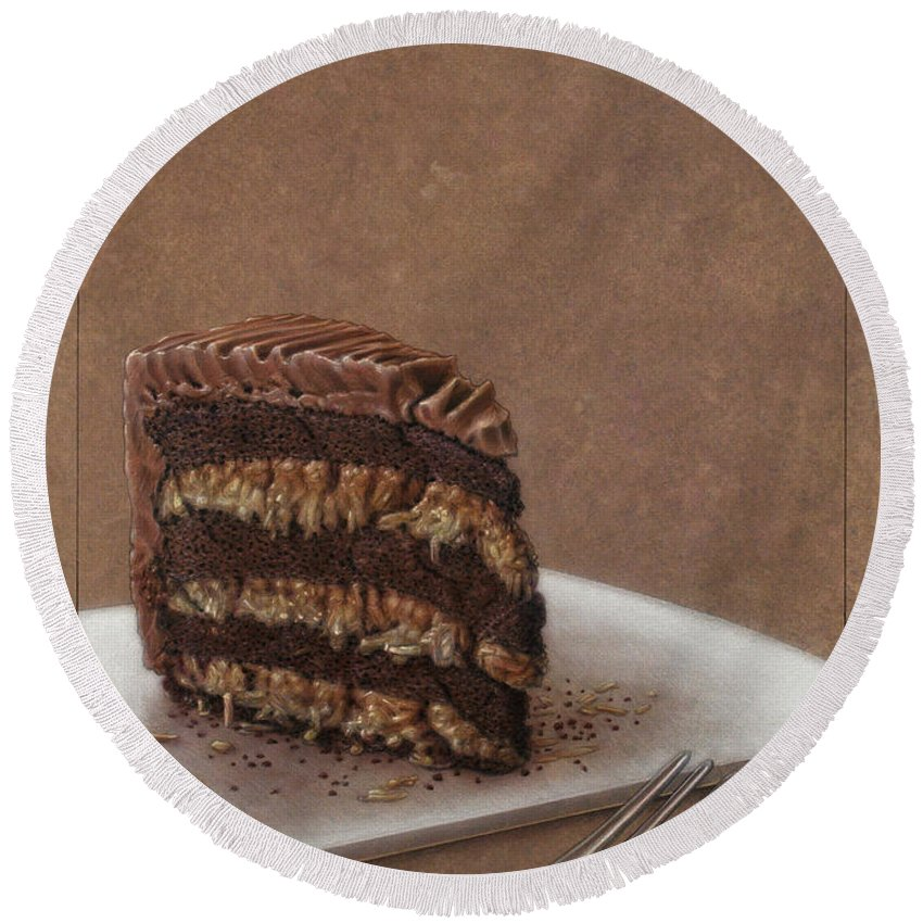 Chocolate Round Beach Towel featuring the painting Let Us Eat Cake by James W Johnson