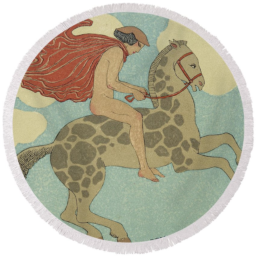 Nude Round Beach Towel featuring the painting L'etranger by Georges Barbier