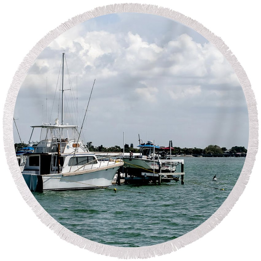Seascape Round Beach Towel featuring the photograph Let's Go Fishin by Norman Johnson