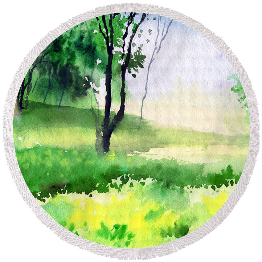 Watercolor Round Beach Towel featuring the painting Let's Go For A Walk by Anil Nene
