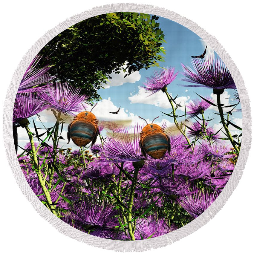 Bloom Round Beach Towel featuring the digital art Two Bumblebees Discover The World by Max Steinwald