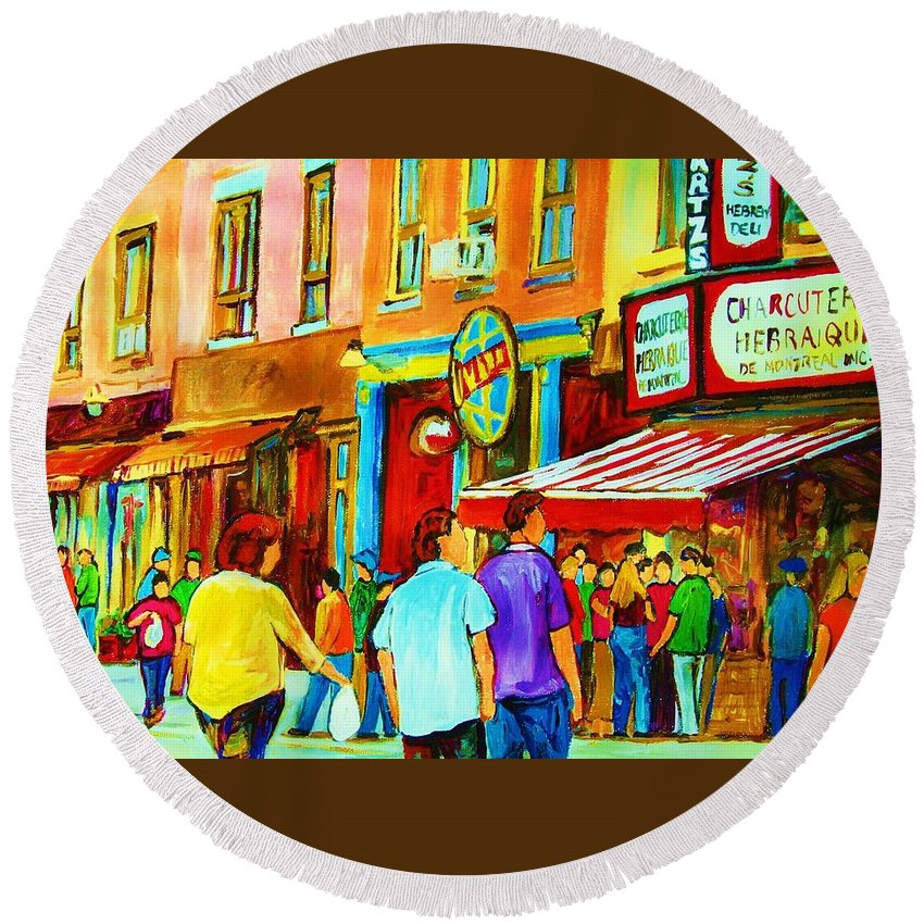 Cityscape Round Beach Towel featuring the painting Lets Meet For Lunch by Carole Spandau