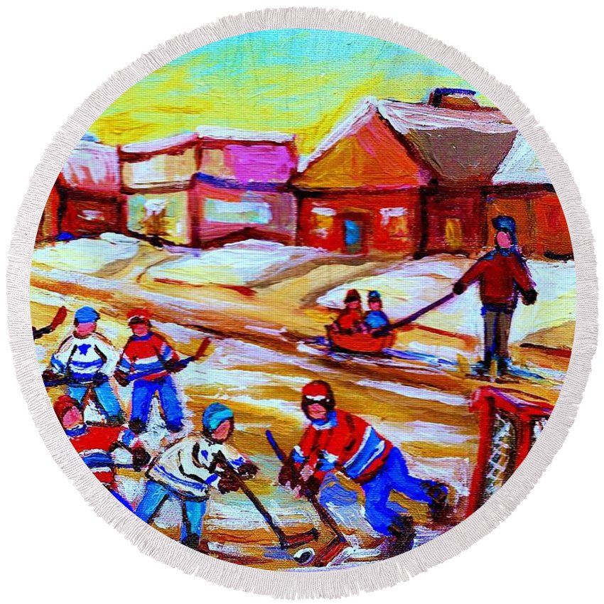 Hockey Canvas Prints Round Beach Towel featuring the painting Lets Play Hockey by Carole Spandau