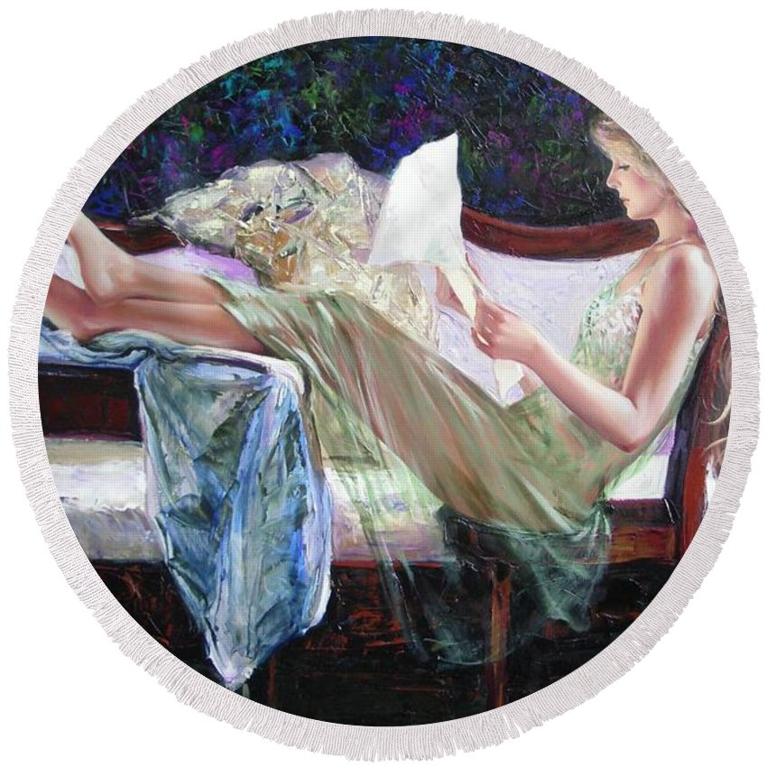 Figurative Round Beach Towel featuring the painting Letter From Him by Sergey Ignatenko