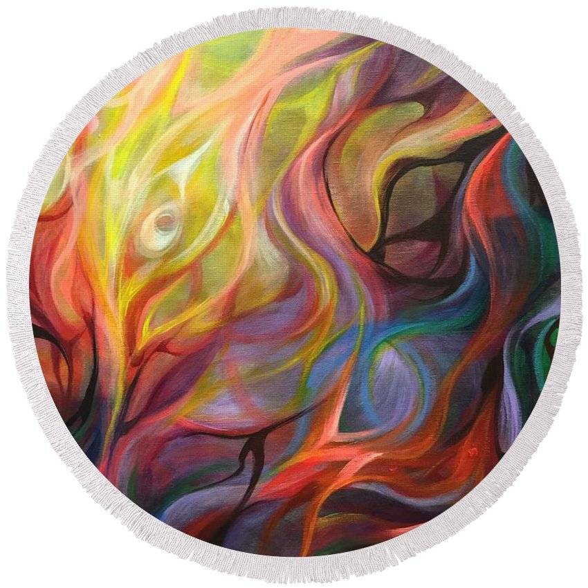 Abstract Round Beach Towel featuring the painting Letting Light In by Vesna Delevska