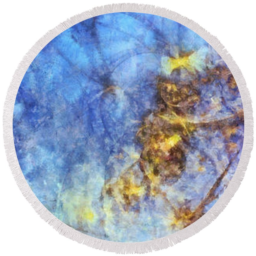 Ndr099 Round Beach Towel featuring the painting Leucospermous Mental Picture Id 16098-052430-80880 by S Lurk