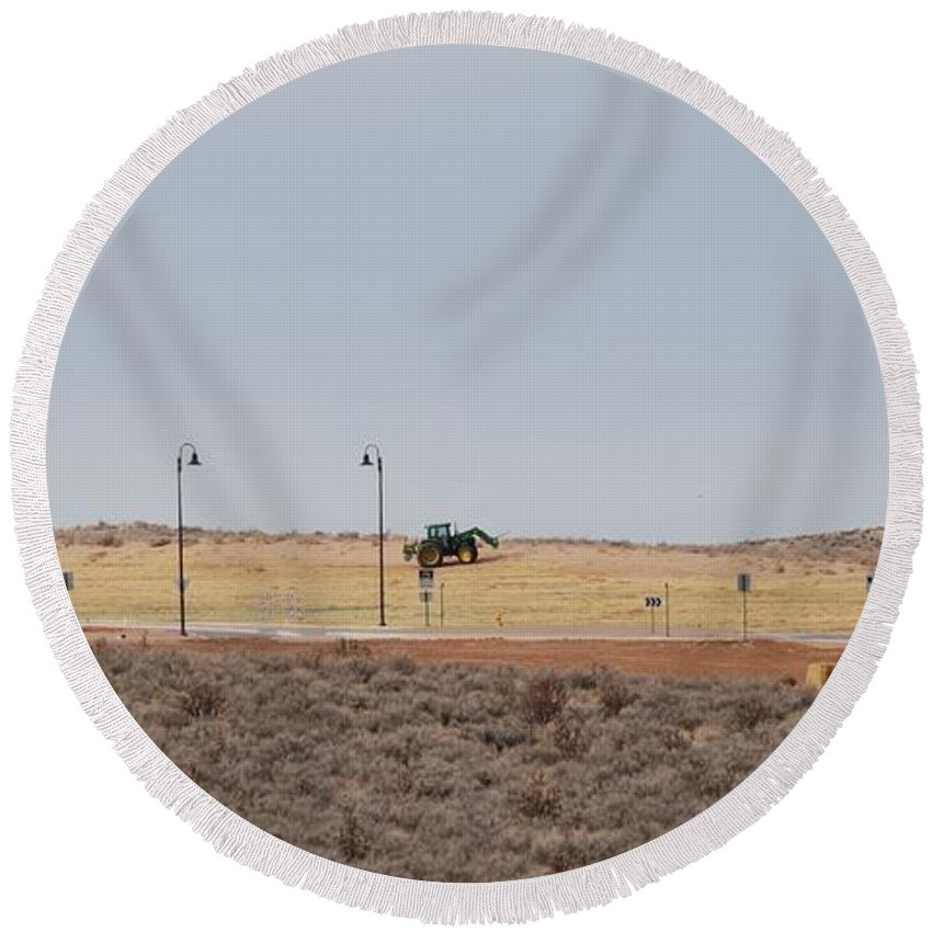 Trackor Round Beach Towel featuring the photograph Levels Of Land by Rob Hans
