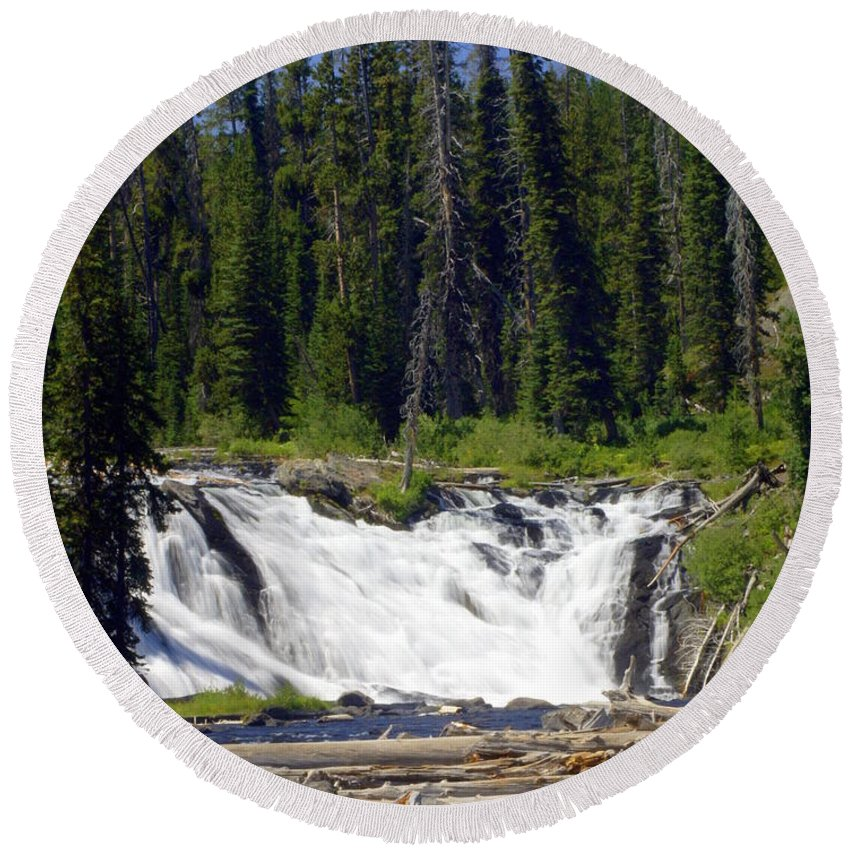 Lewis Falls Round Beach Towel featuring the photograph Lewis Falls by Marty Koch