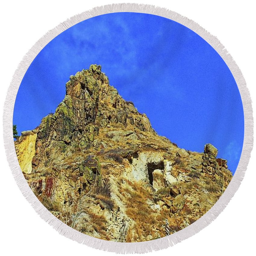 Mountain Round Beach Towel featuring the photograph Leydon Hill With Cave by Timothy Ruf