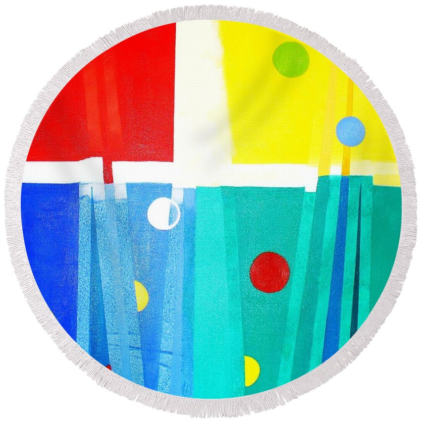 Abstract Round Beach Towel featuring the painting Liberdade Freedom by Fernanda Cruz