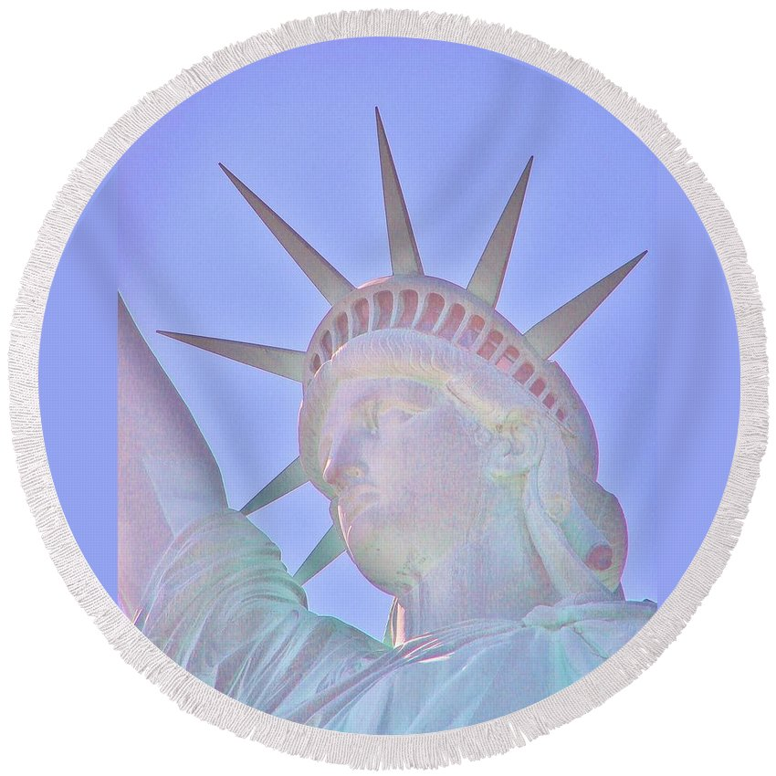 Statue Of Liberty Round Beach Towel featuring the photograph Liberty Glows by Margaret Bobb